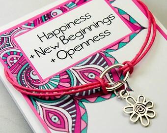Friendship Wish Bracelet - Flower Charm Bracelet - Happiness -New Beginnings - Openness INT026