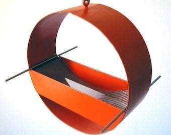 Bird Feeder - Charm Modern Bird Feeder in Orange - welded steel and stainless steel