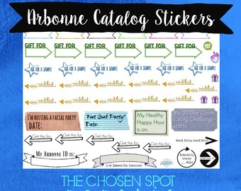 Arbonne catalog stickers, catalog markers, page markers, printable stickers, arbonne client, gifts for clients, new consultant gift, GTC