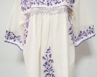 Embroidered Mexican Blouse 3/4 Sleeves Natural Cotton Top