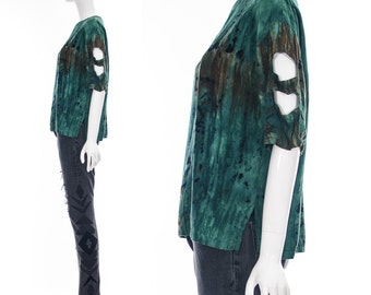 Vintage 90s Bohemian Revival Jade Green Tie Dye Batik Blouse with Cut Out Sleeves Festival Top