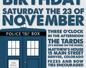 Doctor Who Birthday Invitation