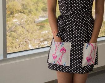 Kleid aus mit Vintage Stoffen und Original Pilz Art Taschen