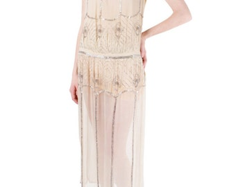 1920's Elegant Vintage Cream Dress with Intricate Beading Sequence Sz. S/M/L