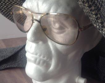 Vintage, hand made in Italy eyeglass frames, retro mod eyeglass frame, 1970s, aviator