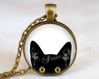 CAT PEEKING Necklace Pendant Black Cat  Kitten Jewelry Charm Keychain Glass Photo Art Necklace Pendant Halloween Necklace Gothic Yellow Eyes