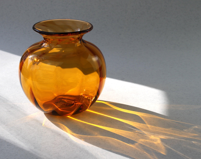 Hand Blown Glass vase, Small Flower Vase, Spring Celebration, Warm Yellow, Swedish Glass, Hand Blown by Marianne Degener