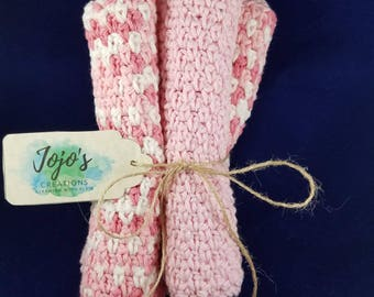 Pink and white washcloths, Crochet washcloths, kitchen dishcloths,  handmade washcloths, kitchen dishcloth