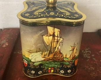 Vintage Tea Tin with Nautical Design