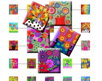 WHIMSICAL FLOWERS - Digital Collage Sheet .75 x .83 inch Scrabble Tile Images for pendants, magnets, earrings.  Instant Download #203.