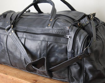 Vintage Blue Leather Duffel Bag / Leather Weekender Bag / Overnight Carry-On Bag 081216-22