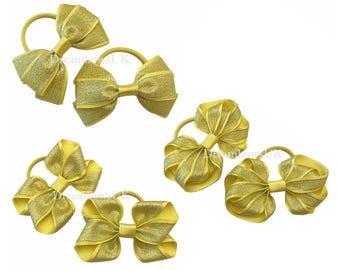 Yellow glitter design ribbon hair bows on thick bobbles, glitter hair accessory, glitter hair fashion for girls, yellow hair bows/accessory
