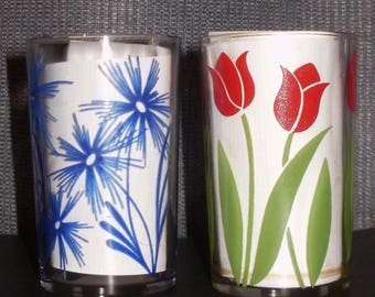 Vintage Juice Glasses set of 2 Floral Small SWANKY SWIG Posey Cornflower Flowers Red Tulip Blue Coneflower Aster Hazel Atlas Kraft