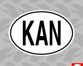 KAN Saint Kitts and Nevis Country Code Oval Sticker Self Adhesive Vinyl euro - C1529