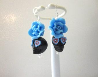 Day Of The Dead Earrings Sugar Skull Jewelry Black Blue Rose