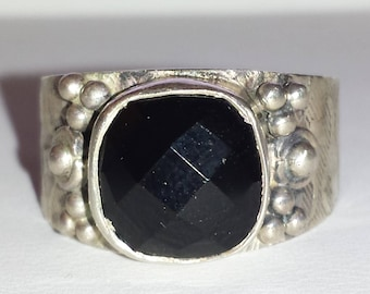 Black Onyx Sterling Silver Ring, Natural Gemstone