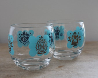pair of midcentury roly poly glasses / scandinavian design