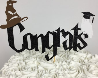 Harry Potter Congrats Cake Topper ~ party ~ graduation ~ Hedwig ~ Sorting hat ~ Harry Potter Graduation ~ glitter ~ Hedwig ~ 2018