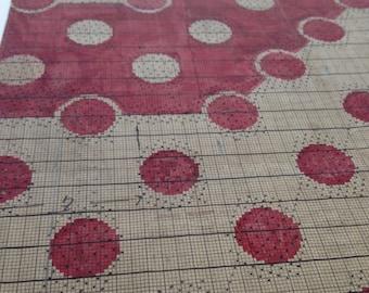 French Polka dot Red & Beige Monogram Pattern