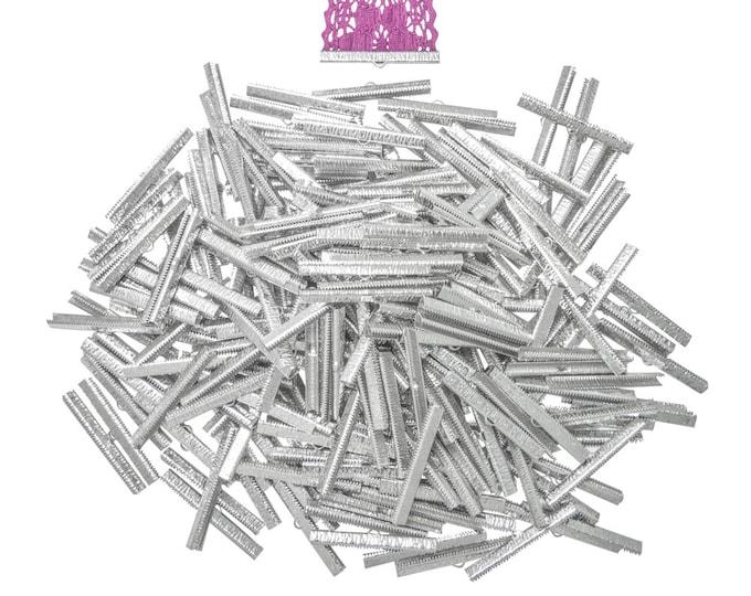 500 pieces  50mm  (2 inch)  Platinum Silver Ribbon Clamp End Crimps - Artisan Series