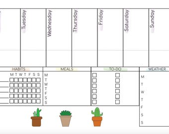 Cute A4 weekly planner with cactus!
