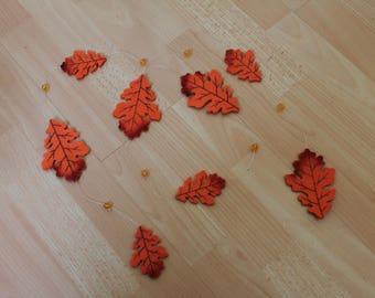 Orange leaves felt Garland with beads
