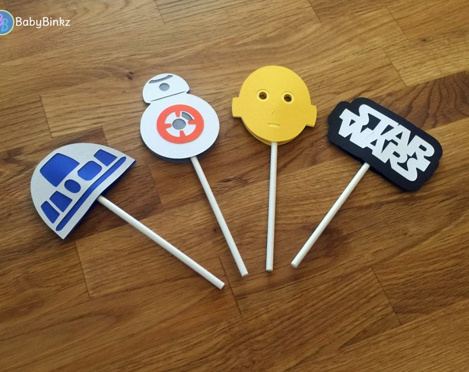 Cupcake Toppers: The Star Wars Droid Set - party wedding birthday jedi force BB8 R2D2 CP3O force awakens decoration