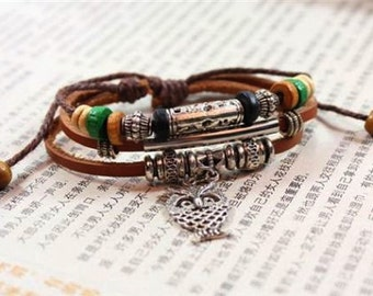 Leather and Silver Tone Layered Owl Charm Bracelet