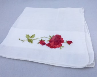 Vintage Mid Century Handkerchief White with Red Roses