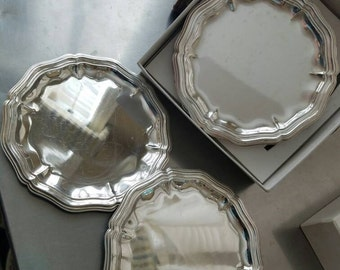 Vintage Canape Trays, Silver, Made in Italy, in box