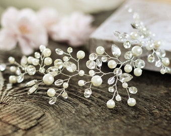 Bridal Headpiece Wedding Hair Vine Crystal Pearl Hairpiece Pearl Halo Ivory hairvine Hair accessory for bride Bridal hair piece