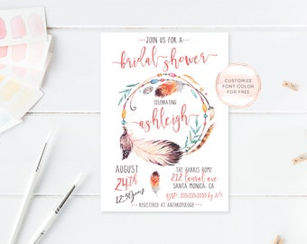 Bridal Shower Invitation, Boho Bridal Shower Invites, Feather Bridal Shower Invitation, Vintage Bridal Shower, Boho Bridal Shower [486]