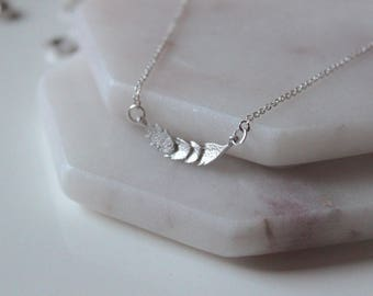 Feather Bar Necklace // dainty sterling silver necklace // statement necklace