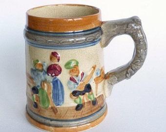 Vintage, Home Decor, Beer Stein, Oktoberfest, Large beer mug, Beer pint, jug, mug, German Relief Art, Man cave, Decor, Blue and Orange,