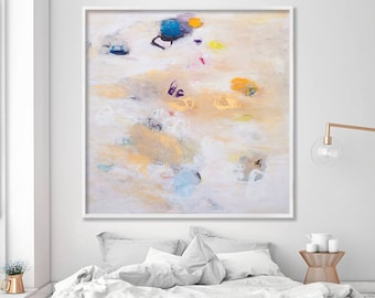 "Giclee print, Abstract painting, Large Wall Art up to 40x40"", Large Abstract art White, cream"