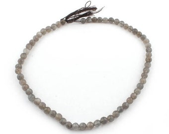 Memorial Day 1 Strands Long Gray Moonstone Faceted Round Ball Bead - Gray Moonstone Beads 6.5mm 14 Inches SB4743