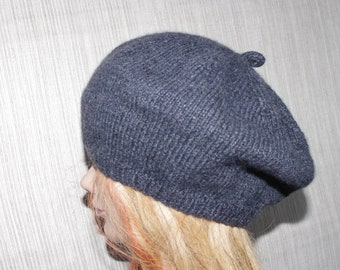 6 Ply Cashmere Charcoal Gray Hand Knit Beret