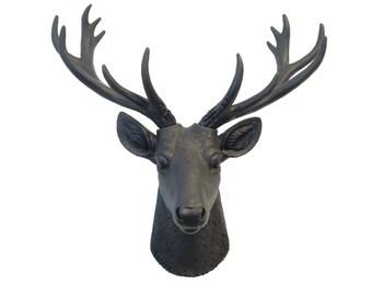 Mini Black Deer Head Wall Mount - All Matte Black - Home Decor Wall Mount SD1717