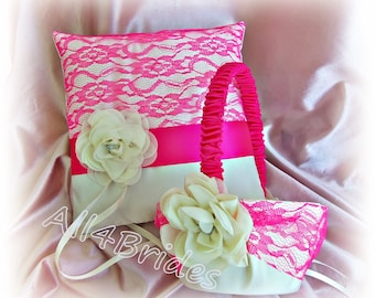 Hot pink lace wedding pillow and flower girl basket -  lace ring bearer pillow and basket set