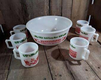 Vintage Hazel Atlas Milk Glass Auld Lang Syne Tom & Jerry Set, Bowl and 6 Mugs