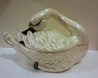 Large Ceramic Iridescent Swan Tureen (no ladle)