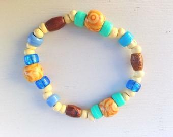 Stretch Bracelet, wood bracelet, mother's day, elastic bracelet, acrylic bracelet, blue bracelet, bracelet beads