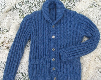 Womens Shawl Collar Cardigan Blue Heather Handknit Small, Long Sleeved Cardigan, Two Pockets, Vintage Buttons, Sapphire Blue