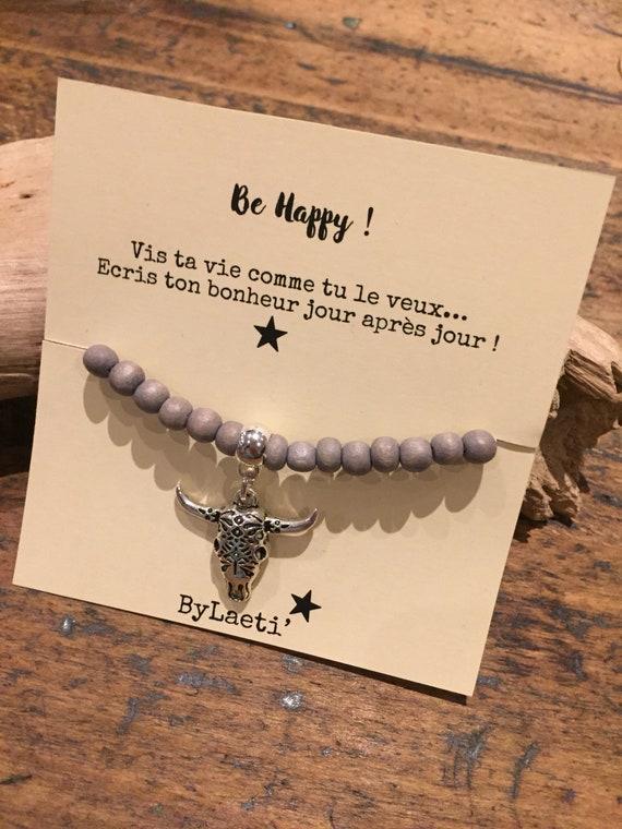 """Be happy"" wooden Bead Bracelet"