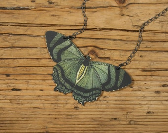 Green Butterfly Necklace, Butterfly Necklace, Green Insect Pendant, Moth Necklace, Green Moth Necklace, Shrink Plastic Necklace