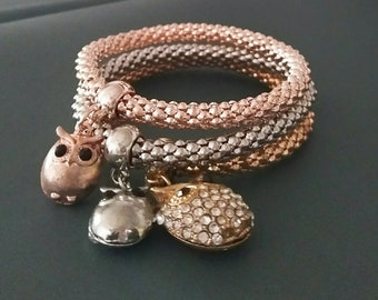 Free shipping,Charm Bracelets,3 layer bracelet,3 owl pendant bracelet,good gift for women