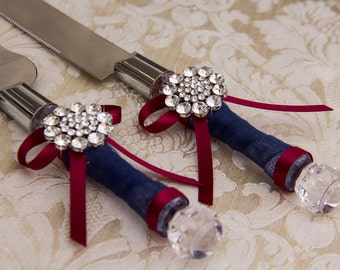 Wedding Cake Serving Set Cutting Set Knife Set, Burgundy and navy Wedding, Wedding Cake Server Set Burgundy Wedding Cake Set