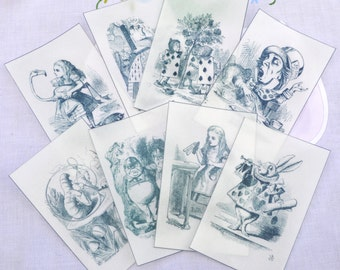 Edible Alice in Wonderland Illustrations 8 Black & White Wafer Paper Images Cake Decorations Wedding Toppers Mad Hatter Tea Party Decor RTD