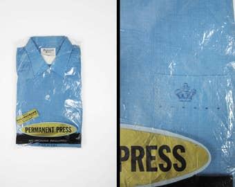 Vintage 60s Blue Rayon Shirt Long Sleeve NOS Retro Monogram Button Up - Medium