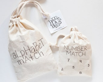 Wood Alphabet + Number Match / Wood Alphabet + Number Educational Game / Montessori Alphabet + Numbers / Homeschool Preschool Kindergarten
